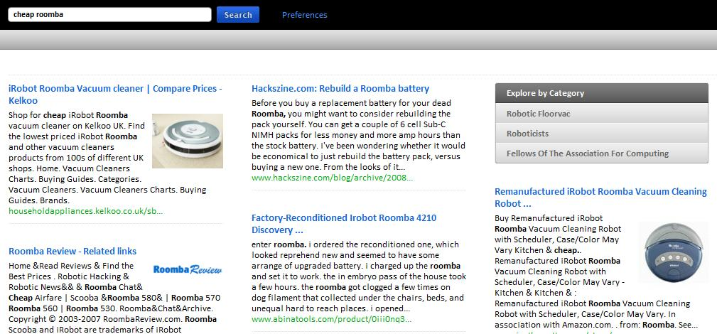 Results for searching for a cheap Roomba on Cuil