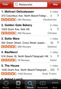 Yelp iPhone app